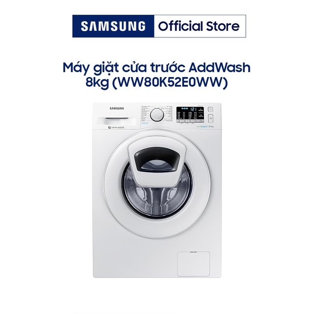 Miễn phí công lắp đặt_Máy giặt Samsung AddWash Inverter 8 kg WW80K52E0WW/SV