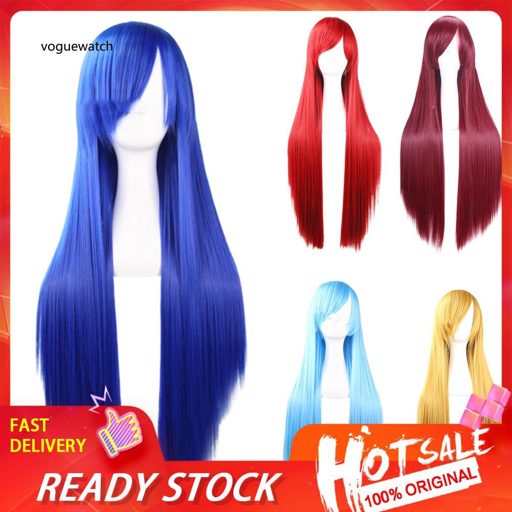 VOG_Women Fashion Long Straight Extension Hair Full Wigs Anime Party Cosplay Costume