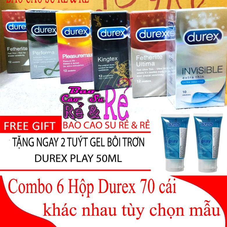 [FREE SHIP] Combo 6 Hộp Bao Cao Su Durex 70 cái tùy chọn + Tặng ngay 2 Tuýt Gel Bôi Trơn Durex Play