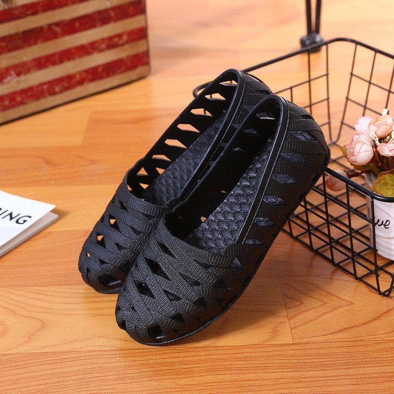 Giày lười nhựa đan chéo nữ
