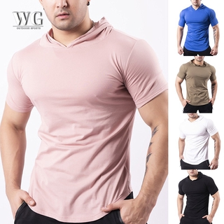WPGY Men's Fashion Summer Short Sleeve Hoodie T-Shirts Sweatshirt Tops Gym Sports Slim Fitness Hooded Sportswear Tees