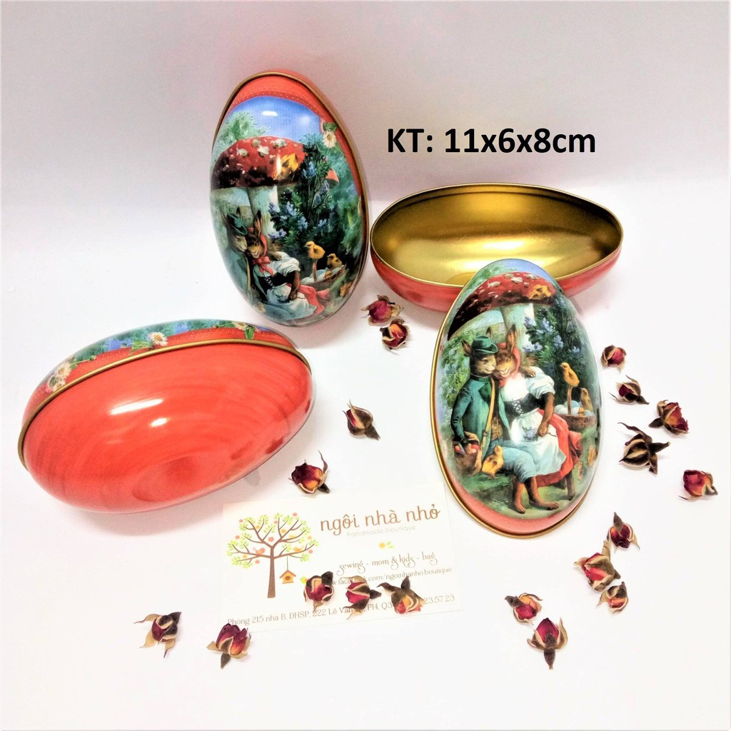 Hộp thiếc hình trứng KT: 11x6x8cm