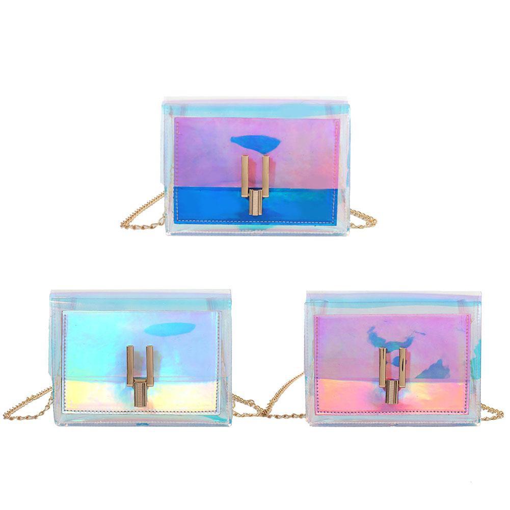 Women Laser Holographic Shoulder Bag Messenger PVC Chain Crossbody Handbags Sllxg