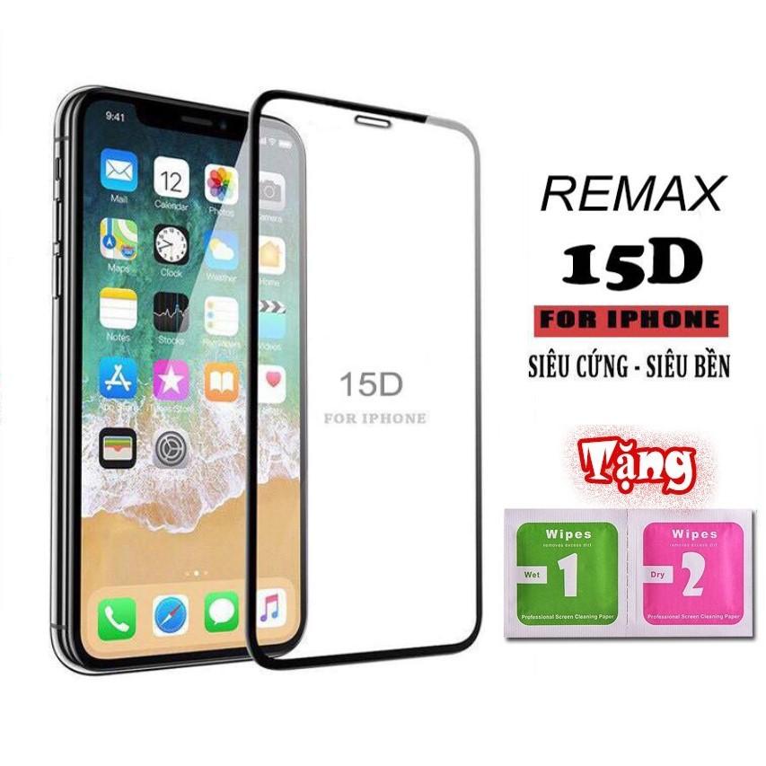 Kính Cường Lực Iphone 15D Full Màn Remax - 5/5s/6/6plus/6s/6s plus/6/7/7plus/8/8plus/x/xs/xs max/11/11 pro/11 promax