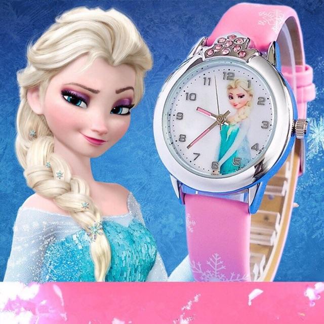Đồng Hồ Trẻ Em bé gái Elsa Và Anna mặt kính hàng xịn sale
