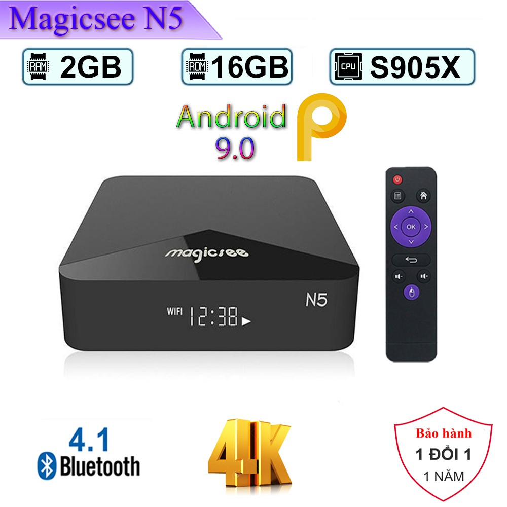 Android Tivi Box Magicsee N5 - Android 9.0 - Ram 2GB Rom 16Gb - Bản Single Wifi - ROM ATV