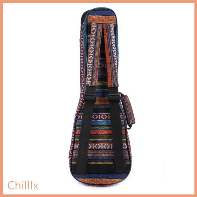 21/23/26 Ethnic Knitting Style Ukulele Bag Backpack Double Shoulder Strap Cotton Padded Ukelele Carrying Case