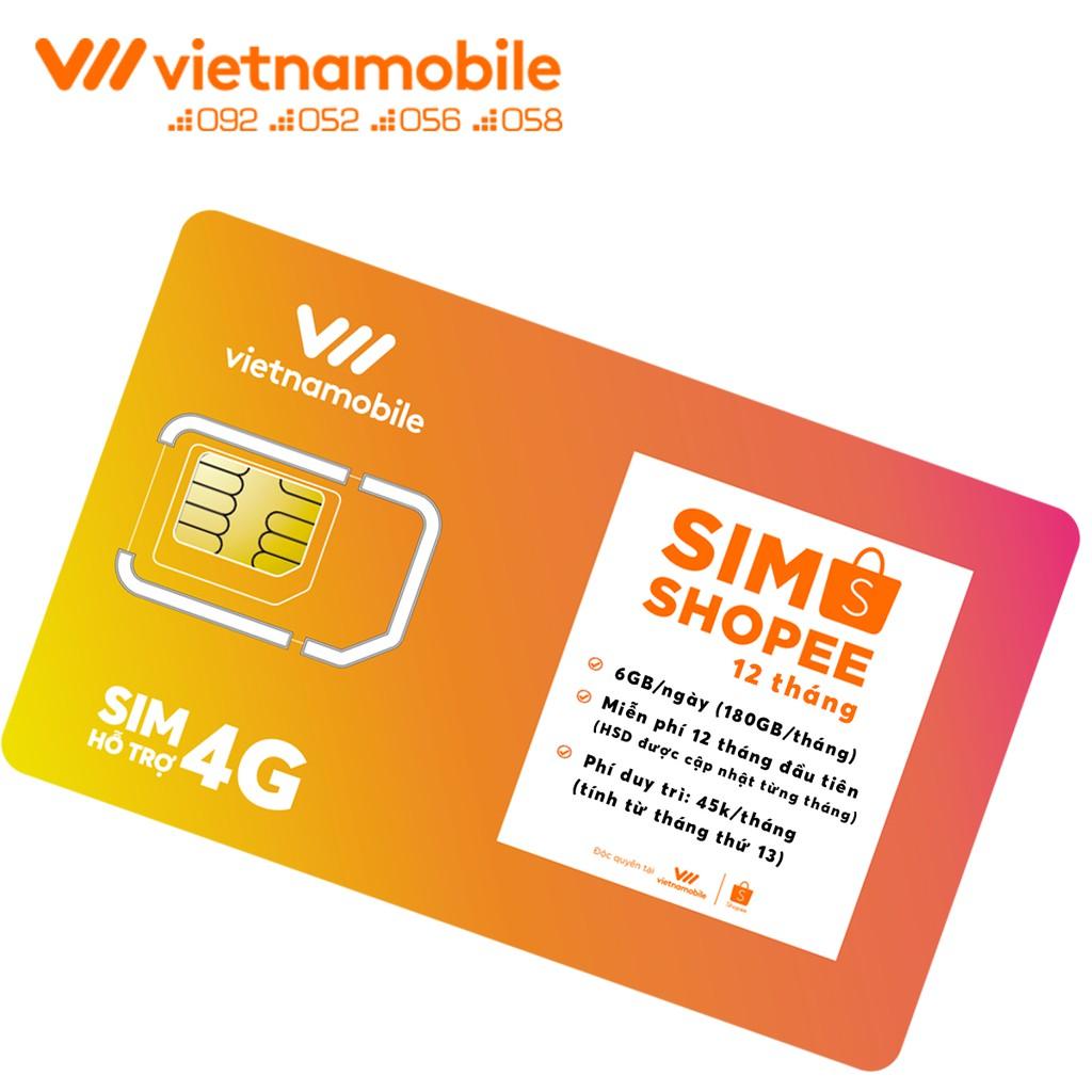 [Miễn Phí 12 Tháng] Sim Data 6GB/Ngày - 180 GB/Tháng - Độc Quyền Vietnamobile