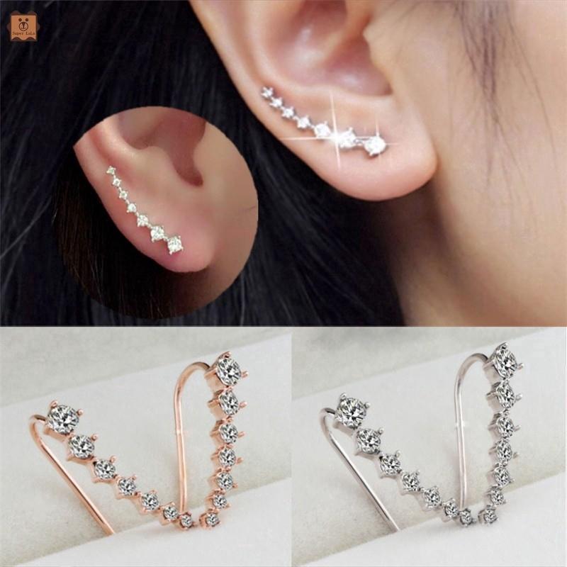 Khuyên tai móc đính đá giả kim cương đơn giản thanh lịch sang trọng phong cách Hàn Quốc dành cho bạn nữ