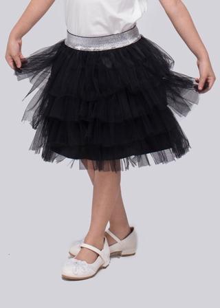 Chân váy lưới tầng đen bé gái