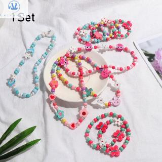 L1 1 Set Resin Plastic Beautiful Children Birthday Gifts Kids DIY Accessories Princess Jewelry Crafts Girl Beads Toys