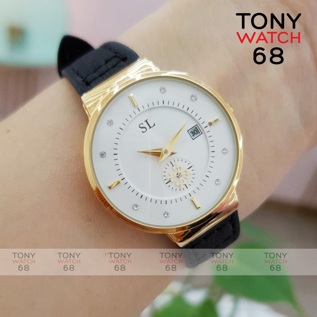 Đồng hồ nữ SL kim rốn dây da đen mặt siêu mỏng độc đáo chống nước chính hãng Tony Watch 68