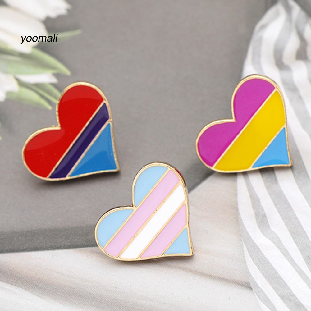 Heart Shape Jewelry Accessories Gay Badge Brooch Collar Pin Denim Brooches