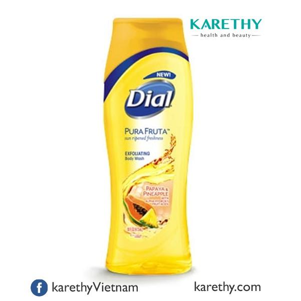 Sữa Tắm Dial® Pura Fruta Exfoliating Body Wash: Hương Đu Đủ và Dứa (473 ml)