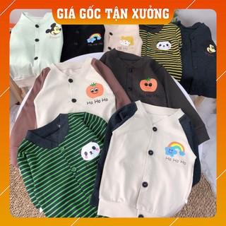 Áo cotton len cho bé ☘️ XẢ KHO ☘️  Áo cadigan cotton  cổ tim co giãn hai chiều cho cả bé trai và bé gái