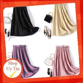 Chân Váy Chữ A Lưng Cao Màu Trơn Phong Cách Vintage