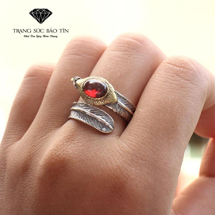 Nhẫn Bạc Thái Nhẫn Lông Vũ Đá Đỏ Hở - Bảo Tín