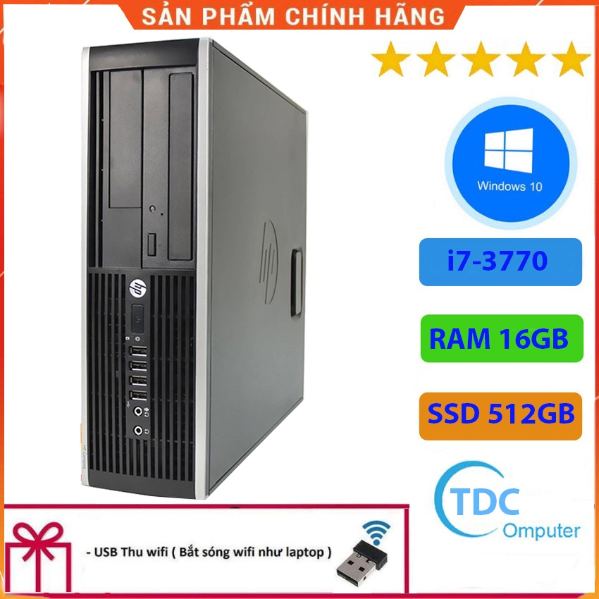 Case máy tính để bàn HP Compaq 6300 SFF CPU i7-3770 Ram 16GB SSD 512GB Tặng USB thu Wifi, Bảo hành 12 tháng