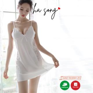 Váy ngủ sexy 2 dây ren 173 - Ha Song Shop đồ ngủ chất lụa gợi cảm form chuẩn tôn dáng cho nữ thumbnail