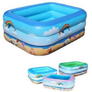 Bể bơi phao 3 tầng cho bé loại 130cmx85cmx55cm + Tặng bơm điện