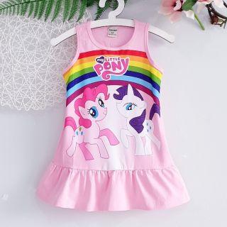 Váy Đầm thun Bé Gái ngựa PONY sát nách mùa hè Cao Cấp Mềm Mát size nhí đại 2-15