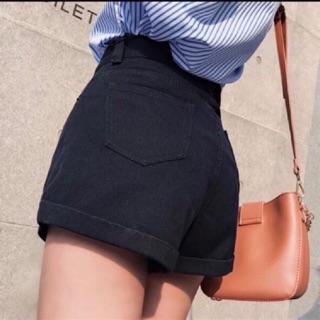 Yêu ThíchQuần shorts đùi lật lai chất kaki jean lưng cao, hình sàn chụp thật - B2U