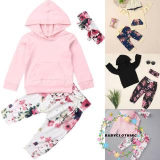 Bộ áo thun tay dài + quần dài + băng đô họa tiết bông hoa dễ thương dành cho bé