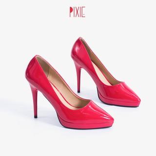 Giày Cao Gót 9cm Đế Đúp Da Bóng Mũi Nhọn Màu Đỏ Pixie P672