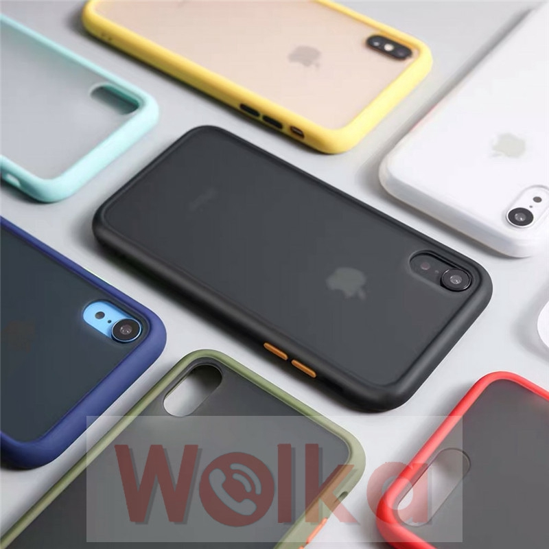 Shockpoof Silicon Frame Case for iPhone 6s 6 7 8 Plus X XR XS MAX Candy Color Hard A