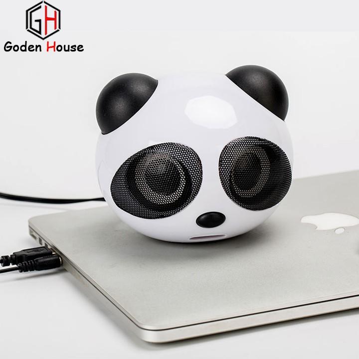 Loa nghe nhạc Goden House mô hình gấu Panda dễ thương, loa máy tính hình gấu cute âm thanh trầm ấm