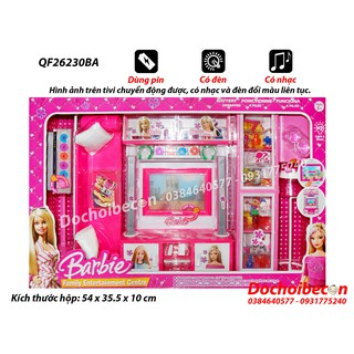 Phòng khách Barbie (Sofa) QF26230BA – Dùng pin – Tivi chuyển động, có đèn nhạc