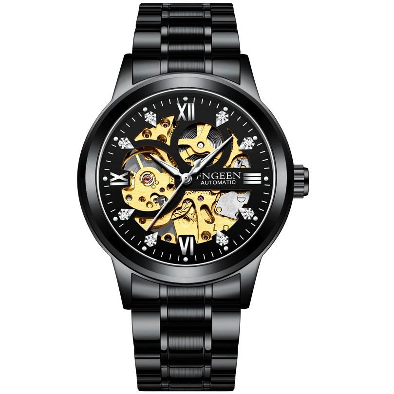 Đồng hồ thời trang cơ tự động - lộ cơ (skeleton) nam dây thép FNGEEN PKHRFNG004 (đen)