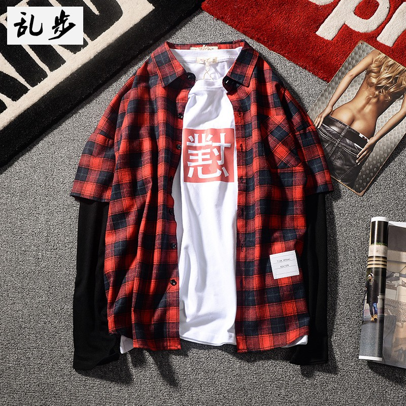 Korean style long-sleeved checkered shirt for couples