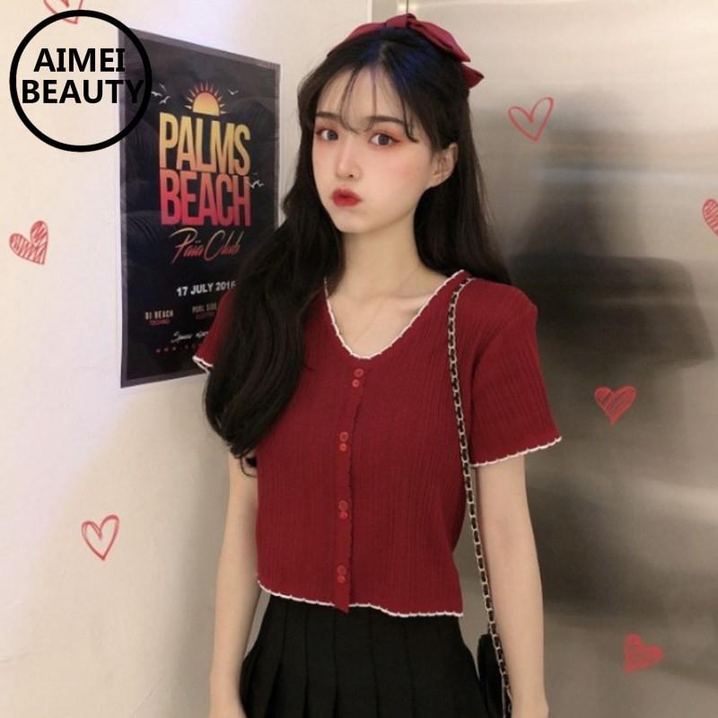 Áo thun croptop tay ngắn xẻ cổ chữ V phong cách Hàn Quốc