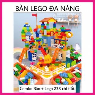 BÀN LẮP RÁP LEGO ĐA NĂNG CHO BÉ ĐỒ CHƠI XẾP HÌNH 238 chi tiết size Lego Duplo thumbnail