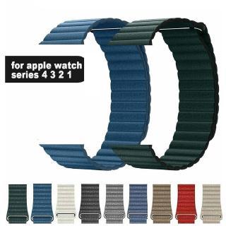 Dây đeo da màu trơn thay thế cho Apple Watch 1 2 3 4 5 cỡ 38-44mm 40-42mm