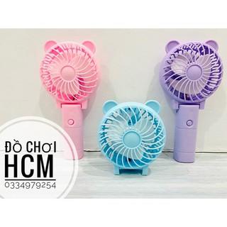 [QUẠT MẠNH CÓ ĐÈN] Quạt mini cầm tay tai thỏ tích điện tiện dụng có đèn dành cho bé sử dụng trong mùa hè nắng nóng