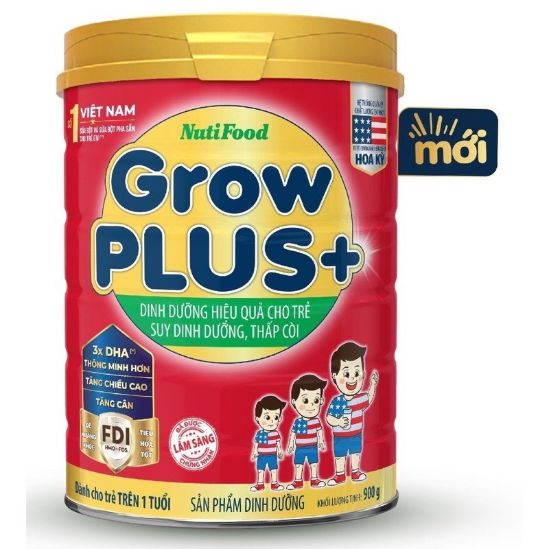Sữa Nutifood Grow plus đỏ lon 900g