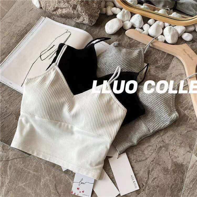 áo hai dây kiểu hở lưng áo 2 dây nữ có mút ngực croptop len hở lưng áo kiểu trắng cổ v tiểu thư ulzzang