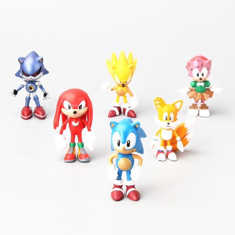 6pcs/set Super Sonic The Hedgehog Action Figure Toy for Kids