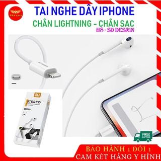 [Loại Xịn] Tai nghe dây Lightning cho I.phone H8 SD Design - tay IP 7 8 7plus 8plus X Xr Xs max 11 12 pro Max bluetooth thumbnail