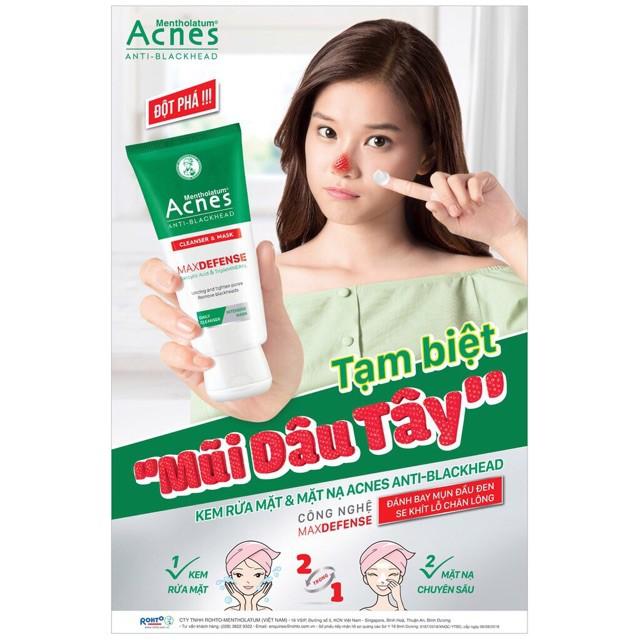 Kem rửa mặt và mặt nạ ngăn ngừa mụn đầu đen Acnes Anti Blackhead 100g