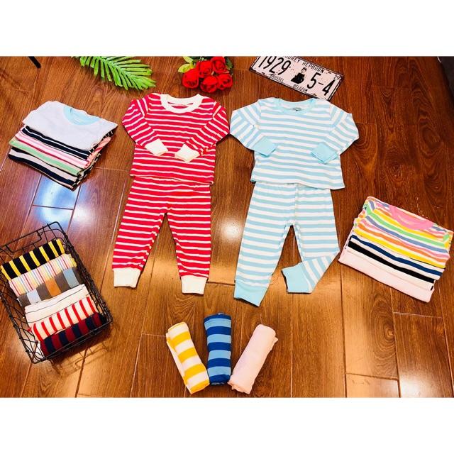 Combo 3 bộ cotton len kẻ cho bé trai/ bé gái