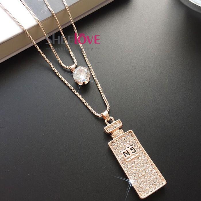 Dây chuyền dài dây đôi chai nước hoa đính đá lấp lánh phong cách Hàn Quốc MYL-0116