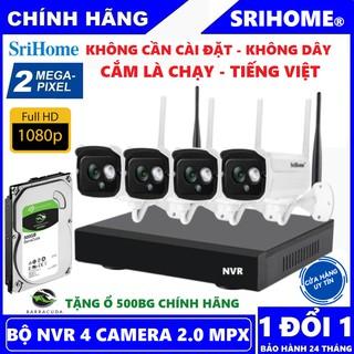 Trọn Bộ 4 Camera Srihome 2.0 Mpx - Đầu Thu NVR Chính Hãng - Tặng Kèm Ổ Lưu Trữ 500Gb Seagate thumbnail