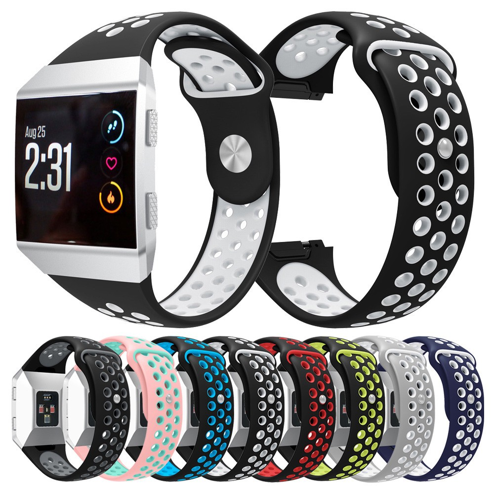 Fashion New Double Color Sports Silicone Bracelet Strap Band For Fitbit Ionic BK