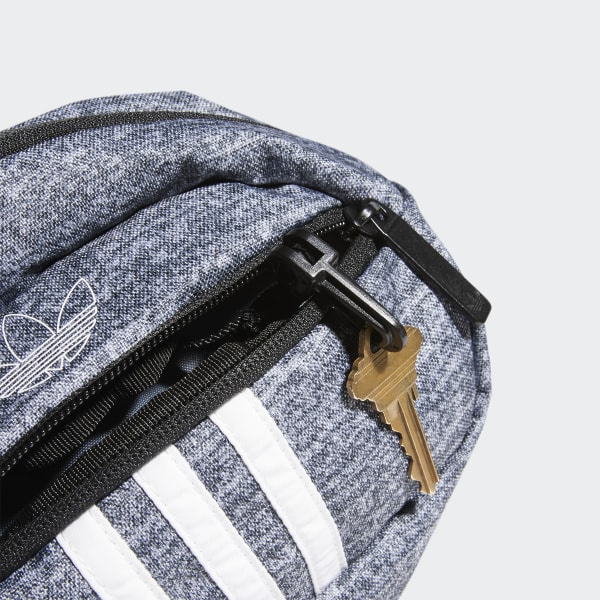 Túi đeo hông 3 sọc Adidas vải Denim, màu xám, mã CM3827