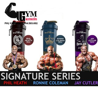Bình lắc 3 ngăn thể thao Smart Shake Shaker Cup Signature Series Ronnie Coleman, Jay Cutler, Phil Heath