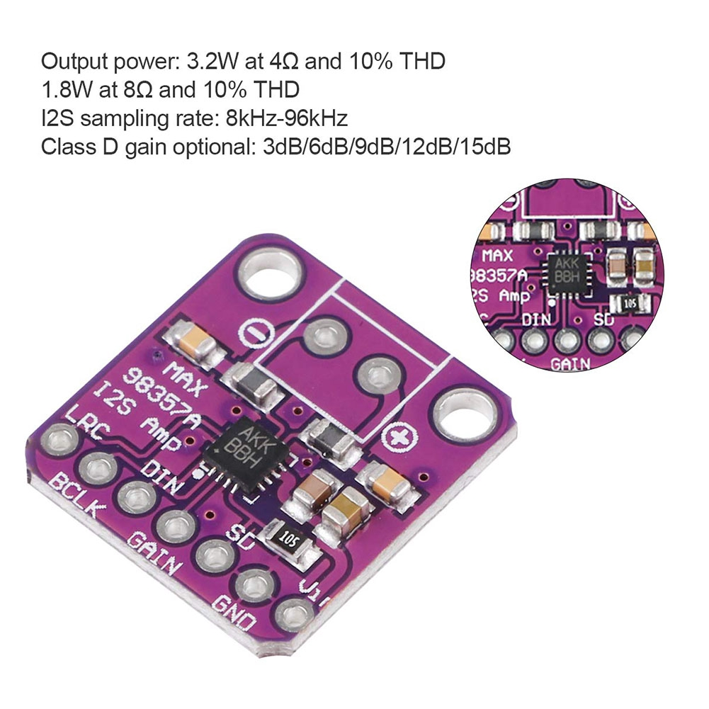 MAX98357 I2S Class D Compact Filterless Audio Amplifier Module Plug-and-Play Efficent Lightweight For Raspberry Pi Esp32
