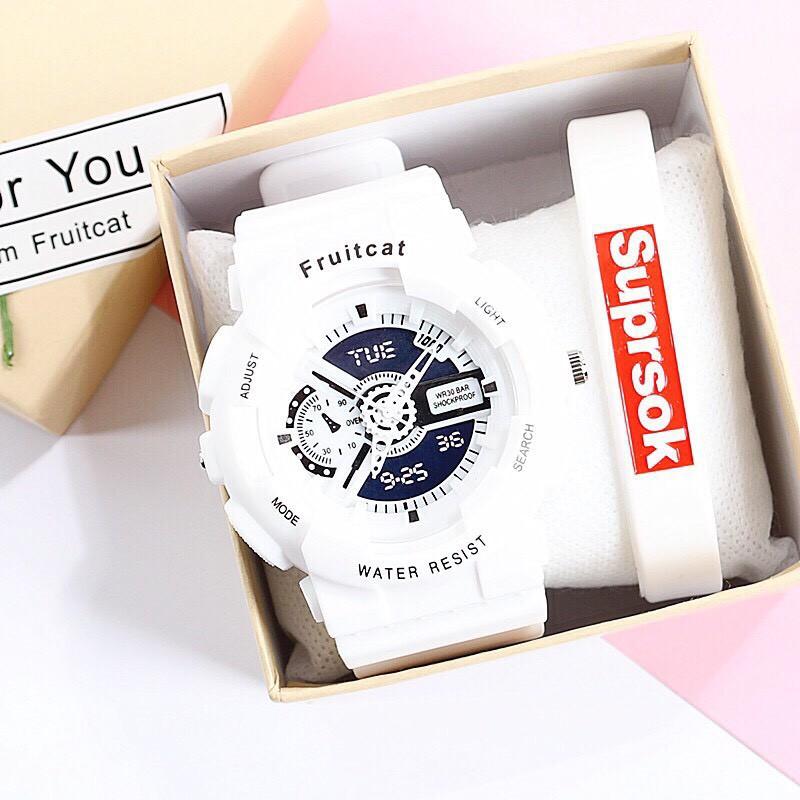 (Giá sỉ) Đồng hồ thời trang nam nữ Fruitcat chạy kim giả điện tử cá tính